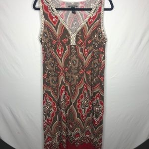Lucky brand brown maxi dress size Large